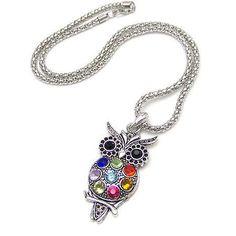 Owl,retro,Necklace,crystals,inlaid stones,Silvery,bird,chain,silver chain,nature,hoot owl,retro,vintage,antique,sparkly,multicolor,tree,bird necklace,