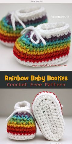 873349356 The adorable and colorful Rainbow Baby Booties Crochet Free Pattern will  light you up all the day.