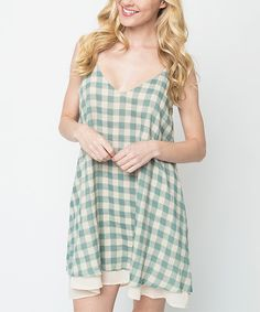 Look at this #zulilyfind! Caralase Sage & White Gingham Linen-Blend Shift Dress by Caralase #zulilyfinds