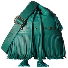 STS Ranchwear The Free Spirit Bucket Bag (Jade) Handbags ($230) ❤ liked on Polyvore featuring bags, handbags, shoulder bags, shoulder handbags, blue handbags, purse shoulder bag, fringe bucket bag and man bag
