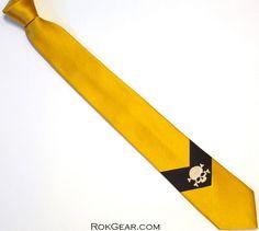 Gold skull tie mens narrow 3 inch wide microfiber gold by RokGear