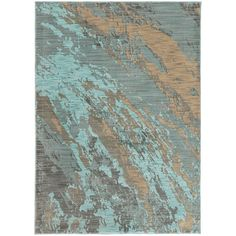 Abstract Marble Blue/ Grey Rug (7'10 x 10'10)