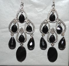 1928 jewelry jet and black crystal chandelier earrings 19 https black crystal chandelier earrings 800 at astoriavintagesy mozeypictures Image collections