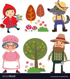Illustration about Vector illustration set of characters from Little Red Riding Hood fairy tale. Illustration of little, childhood, fantasy - 66933729 Red Riding Hood Story, Little Red Ridding Hood, Diy For Kids, Crafts For Kids, Banner Printing, Free Vector Art, Nursery Rhymes, Puppets, Fairy Tales