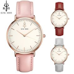 KING HOON Women Watches 2017 Top Sale Stainless steel / Leather Strap Slim Rose gold Quartz Watch Casual Clock Montre Femme