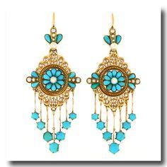 Inv. #17893 Antique French Chandelier Earrings 18k c1870s
