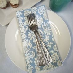 Blue French Country Fleur De Lis Everyday Cloth Napkins Perfect for Dessert Napkins or Cocktail Napkins too | Mother's Day Gift Ideas | Wildfire Events