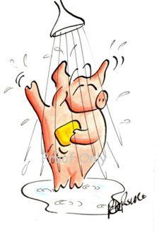 showering pig ~ OMG :)