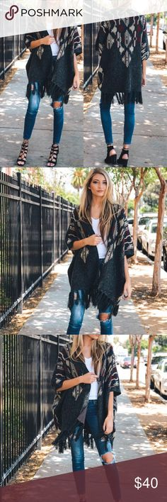 """🆕 Argyle Fringe Sweater Printed Tassel Poncho Preorder - Will ship in 7 days. Gorgeous heather argyle Printed knit ruana poncho with armholes. 100% Acrylic. Size: 35""""x45"""". One Size. Accessories Scarves & Wraps"""