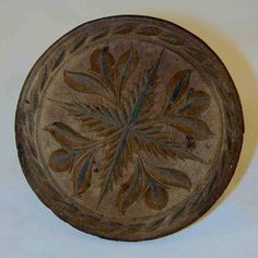 Beautiful Carved Wood Butter Print, Antique with Stylized Flowers Design and Beautiful Brown Coloration