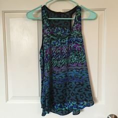 Blue leopard print top 100% polyester loose fitting top from forever 21. Cute for a night out Forever 21 Tops Tank Tops