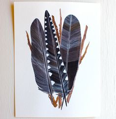 Crow Feather Bundle  Original Painting  Watercolor by RiverLuna, $130.00