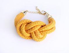 Sailor Knot  Cotton Rope Bracelet in mustard von ChezKristel, $19,00    #etsy #chezkristel #cotton #jewelry #sailorknot #shop