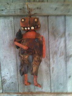 primitive EXTREME Prim Folk ARt PUmpkin Jack O Lantern Doll Fall halloween  #NaivePrimitive