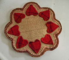RED HEARTS  Wool  Penny Rug  Scalloped 8 by mistypondprimitives, $18.00