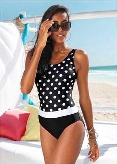 Badeanzug schwarz/weiss - bpc bonprix collection online bestellen - bonprix.ch Swimsuits, Bikinis, Swimwear, Mode Glamour, Black White Red, Tankini, Latest Fashion, One Piece, Casual