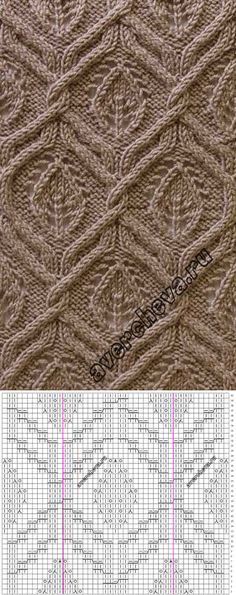 Knitting Patterns Stitches Lace leaf and cable Knitting stitch Lace Knitting Stitches, Cable Knitting Patterns, Knitting Charts, Knitting Designs, Knitting Needles, Knit Patterns, Hand Knitting, Stitch Patterns, Diamonds