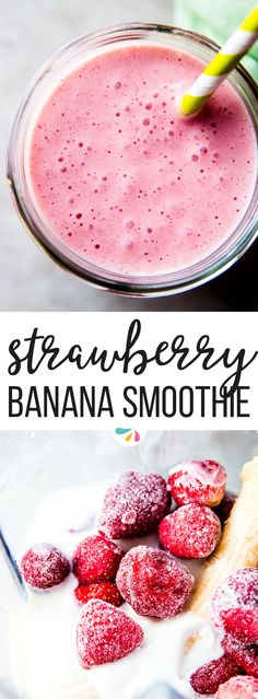 Strawberry Banana Smoothie is a creamy delicious smoothie for breakfast or as a snack. Smoothies For Kids, Yummy Smoothies, Breakfast Smoothies, Yummy Drinks, Smoothie Recipes, Banana Breakfast, Simple Smoothies, Pink Smoothie Recipe, Making Smoothies