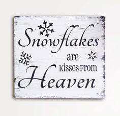 Snowflakes are Kisses From Heaven 9x10 Handpainted door CheekySheep