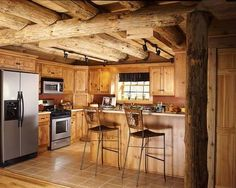Low ceilings, and looks small,  but like that its open to the rest of the home. love the wood ceilings.