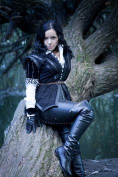 Another photo about my Yennefer cosplay - rest of the photoshoot is coming soon, right after the end of The Witcher cosplay contest! Yennefer cosplay 2 - The Witcher 3 Wild Hunt Black Leather Gloves, Leather Corset, Leather Riding Boots, Leather Pants, Fantasy Women, Fantasy Girl, Yennefer Cosplay, Steampunk Costume, Badass Women
