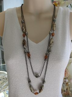 Long Brown Beaded Necklace Black Chain Chunky by RalstonOriginals, $16.00