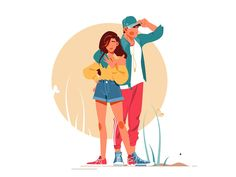 Girl and boy posing in stylish outfits vector illustration. Couple standing together flat style. Outdoors walk and leisure concept. Isolated on white background People Illustration, Illustration Girl, Character Illustration, Digital Illustration, Character Poses, Man Character, Character Design, Sitting Girl, Affinity Designer
