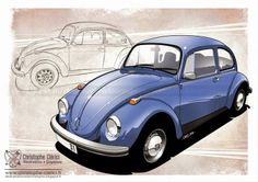 Les illustrations de christophe Bugs Drawing, Beetle Drawing, Car Illustration, Illustrations, Vw Emblem, Bug Cartoon, Beetle Tattoo, Green Beetle, Volkswagen Models