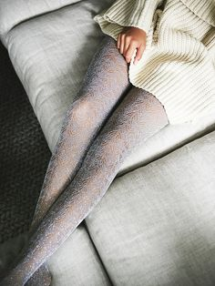 Glitter Tight | Sparkly fashion tights featuring subtle texture and metallic threading throughout. Elastic waistband for an effortless fit.