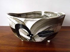 Modernist Richard Saar Studio Pottery Bowl, Horse Motif, Gray, Black from MTippingAtelier on Etsy and TheVintageVillage