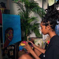 Black Girl Art, Black Women Art, Beautiful Black Women, Black Girl Magic, Black Girls, Art Hoe Aesthetic, Black Girl Aesthetic, Aesthetic Plants, Jm Basquiat