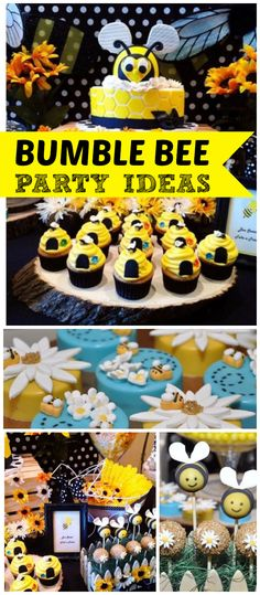 Such a cute bumble bee baby shower! Adorable beehive cupcakes and bumble bee cake pops! See more party planning ideas at CatchMyParty.com!