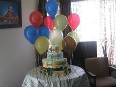 Boy baby shower nappy cake and favors :)