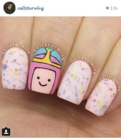 Princess bubblegum nails by Nails Only, Love Nails, Pretty Nails, Adventure Time Nails, Bubblegum Nails, Nails After Acrylics, Hard Nails, Nail Time, Nail Candy