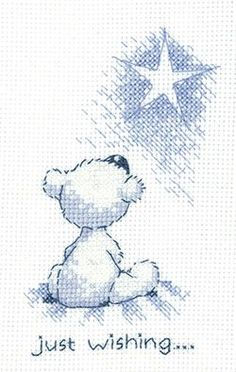 Just Wishing 'Justin' Teddy Bear cross stitch card kit