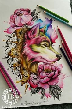 Image result for watercolor wolf head tattoo