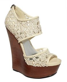 Cute lace wedges--great for poolside style Christian Louboutin, Cute Shoes, Me Too Shoes, Wedge Sandals, Shoes Sandals, Lace Wedges, White Wedges, Lace Heels, Wedges