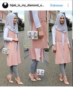 Pants / Hose / Pantolon - H&M Vest / Weste / Yelek - www. Modern Hijab Fashion, Abaya Fashion, Modest Fashion, Fashion Outfits, Turkish Fashion, Islamic Fashion, Muslim Fashion, Hijab Gown, Hijab Style Dress