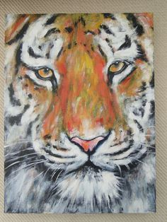 Cat painting Tiger Original Acrylic Painting on Canvas OOAK Art on Etsy, $68.09