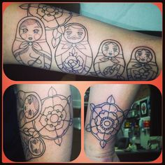 And at last, my own Matryoshka Tattoo! In process ... outlines done! By the lovely and talented Angie Fey at Archive Tattoo, Toronto.