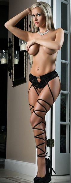 Basic Instinct Sexy Lace Panty Stocking Black Open Crotch & Daring Open Back O/S