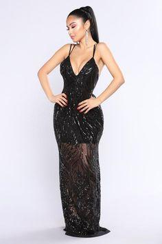 Cherished Sequin Dress - Black
