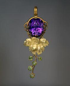 Antique Art Nouveau Siberian Amethyst Demantoid Gold Pendant - Antique Jewelry   Vintage Rings   Faberge Eggs