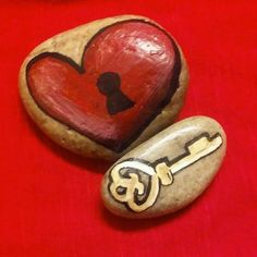 Hand Painted Rocks Heart & Key Set...Just in time for Valentine's Day!! in Crafts, Handcrafted & Finished Pieces, Handpainted Items | eBay