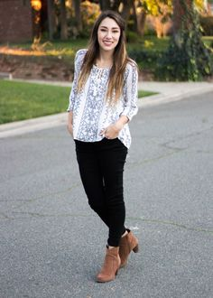 Moo's Musing Outfit Inspiration loft Aztec blouse with black jeans and G.H.Bass brown heeled booties