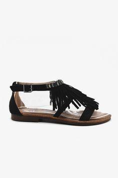 Sandales plates à franges noires