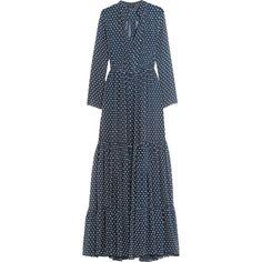 Saloni Alexia Swiss-dot chiffon maxi dress (97.025 HUF) ❤ liked on Polyvore