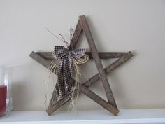 Primitive Wooden Star with Homespun and by JoAnnCountryCorner, $19.50