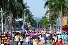 Crowded street Huaqiangbei Shenzhen China