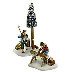 """Item #: 56.56590  """"Lumberjacks""""    Set of 2  Size: 5.75, 2.5''  US Retail:   $30.00    Collector Notes:  •Introduced December, 1995  •Retired December, 1998"""